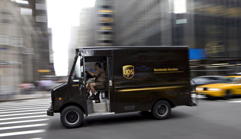 Fred Harster drives a UPS truck on Park Avenue in New York,